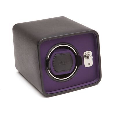 """Windsor"" Black and Purple Single Watch Winder by Wolf Designs, , default"