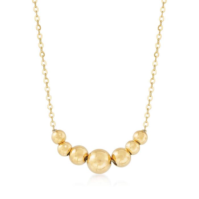 Italian 14kt Yellow Gold Graduated Bead Necklace