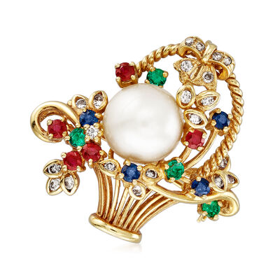C. 1980 Vintage 10mm Cultured Pearl, .87 ct. t.w. Multi-Gemstone and .35 ct. t.w. Diamond Basket Pin/Pendant in 18kt Yellow Gold, , default