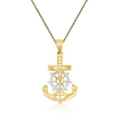 14kt Yellow Gold Anchored Cross Pendant Necklace, , default