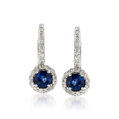 1.15 ct. t.w. Sapphire and .60 ct. t.w. Diamond Earrings in 14kt White Gold, , default
