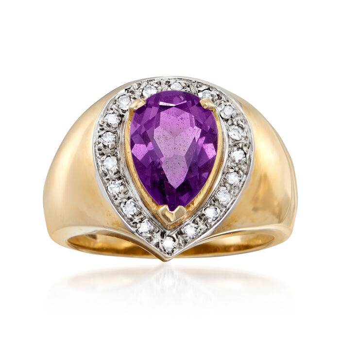 C. 1980 Vintage 1.55 Carat Amethyst and .15 ct. t.w. Diamond Ring in 14kt Yellow Gold. Size 6.25