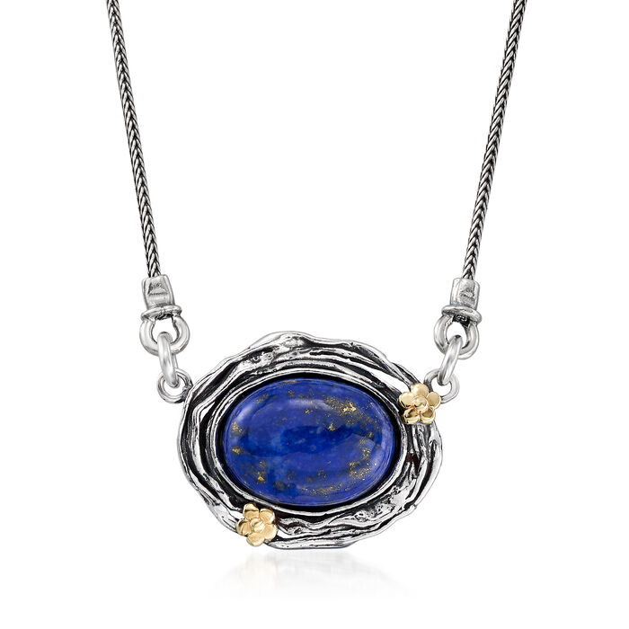 Lapis Necklace with Flower Accents in Sterling Silver and 14kt Yellow Gold