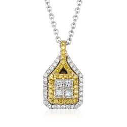 "Gregg Ruth .61 ct. t.w. Yellow and White Diamond Pendant Necklace in 18kt White Gold. 18"", , default"