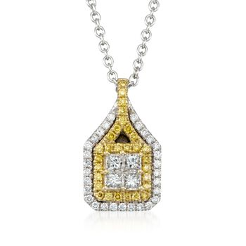 """Gregg Ruth .61 ct. t.w. Yellow and White Diamond Pendant Necklace in 18kt White Gold. 18"""", , default"""