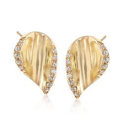 .10 ct. t.w. Diamond Curved Teardrop Earrings in 14kt Yellow Gold, , default