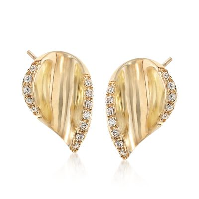.10 ct. t.w. Diamond Curved Teardrop Earrings in 14kt Yellow Gold, , default