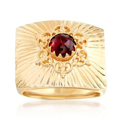 Italian 1.00 Carat Garnet Square-Top Ring in 18kt Yellow Gold, , default