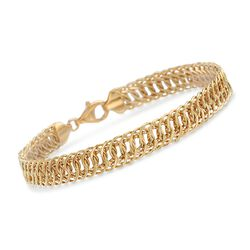 18kt Yellow Gold Interlocking Oval Link Bracelet, , default