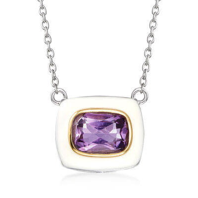 1.30 Carat Amethyst and White Enamel Necklace in Sterling Silver with 14kt Yellow Gold