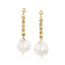 14-16mm Cultured Baroque Pearl and 14kt Gold Byzantine Chain Drop Earrings, , default