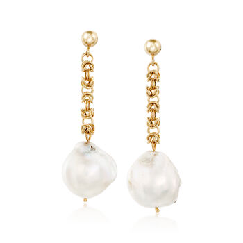 14-16mm Cultured Baroque Pearl and 14kt Gold Byzantine Chain Drop Earrings , , default