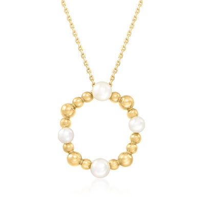 4mm Cultured Pearl and 18kt Gold Over Sterling Silver Open-Space Circle Pendant Necklace