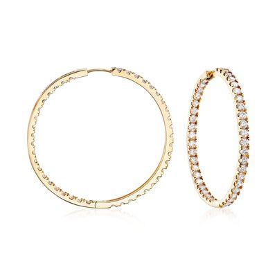3.50 ct. t.w. CZ Inside-Outside Hoop Earrings in 14kt Yellow Gold, , default