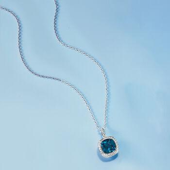 5.00 Carat London Blue Topaz Pendant Necklace in Sterling Silver