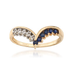 C. 1980 Vintage .25 ct. t.w. Sapphire Chevron Ring in 10kt Yellow Gold With Diamond Accents , , default