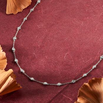2.00 ct. t.w. Bezel-Set Diamond Station Necklace in 14kt White Gold, , default