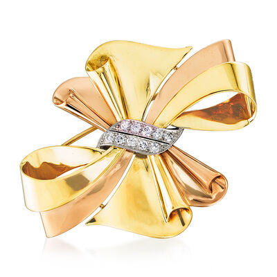 C. 1950 Vintage .60 ct. t.w. Diamond Bow Pin in 14kt Two-Tone Gold, , default