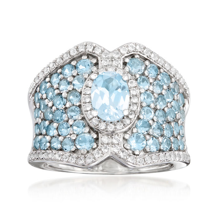 2.60 ct. t.w. Sky Blue Topaz and .30 ct. t.w. White Topaz Ring in Sterling Silver