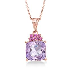 "4.90 Carat Pink Amethyst and .30 ct. t.w. Rhodolite Garnet Pendant Necklace in 18kt Rose Gold Over Sterling. 18"", , default"