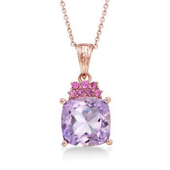 """4.90 Carat Pink Amethyst and .30 ct. t.w. Rhodolite Garnet Pendant Necklace in 18kt Rose Gold Over Sterling. 18"""", , default"""
