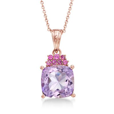 4.90 Carat Amethyst and .30 ct. t.w. Rhodolite Garnet Pendant Necklace in 18kt Rose Gold Over Sterling, , default