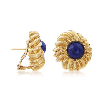 C. 1980 Vintage Tiffany Jewelry Lapis Earrings in 18kt Yellow Gold