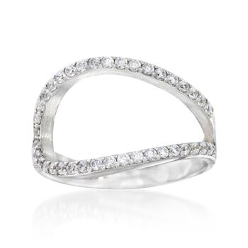 .20 ct. t.w. CZ Open Loop Cuff Ring in Sterling Silver, , default