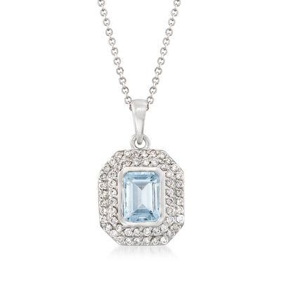 .90 Carat Aquamarine and .30 ct. t.w. Diamond Pendant Necklace in 14kt White Gold, , default