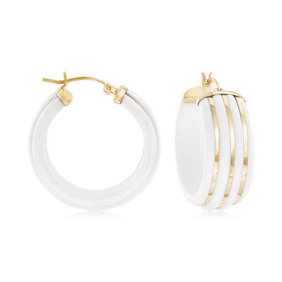 White Agate Striped Hoop Earrings in 14kt Yellow Gold, , default
