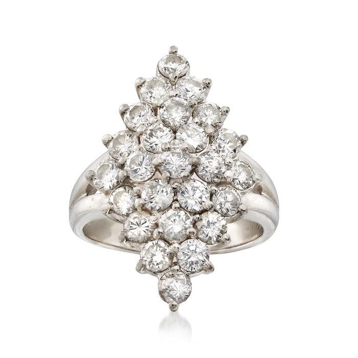 C. 1980 Vintage 2.12 ct. t.w. Diamond Cluster Ring in Platinum. Size 5, , default
