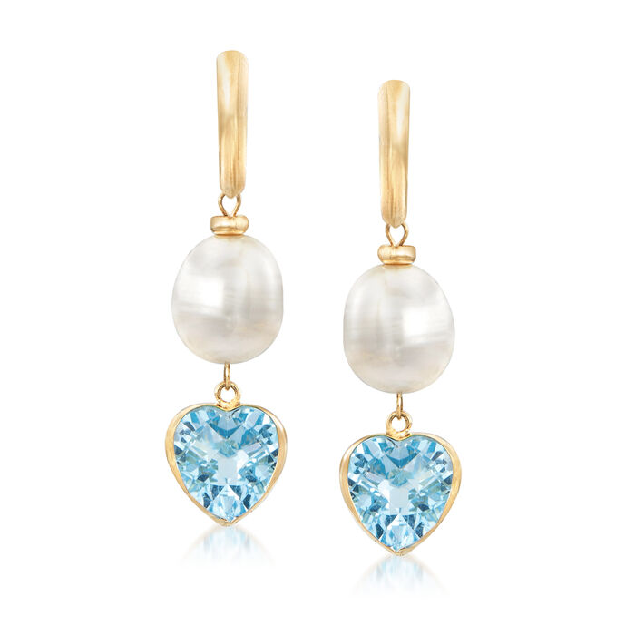 9.5-10mm Cultured Pearl and 9.50 ct. t.w. Blue Topaz Heart Drop Earrings in 14kt Yellow Gold