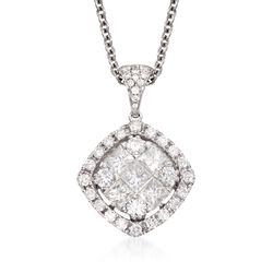 "Gregg Ruth 1.44 ct. t.w. Diamond Pendant Necklace in 18kt White Gold. 18"", , default"