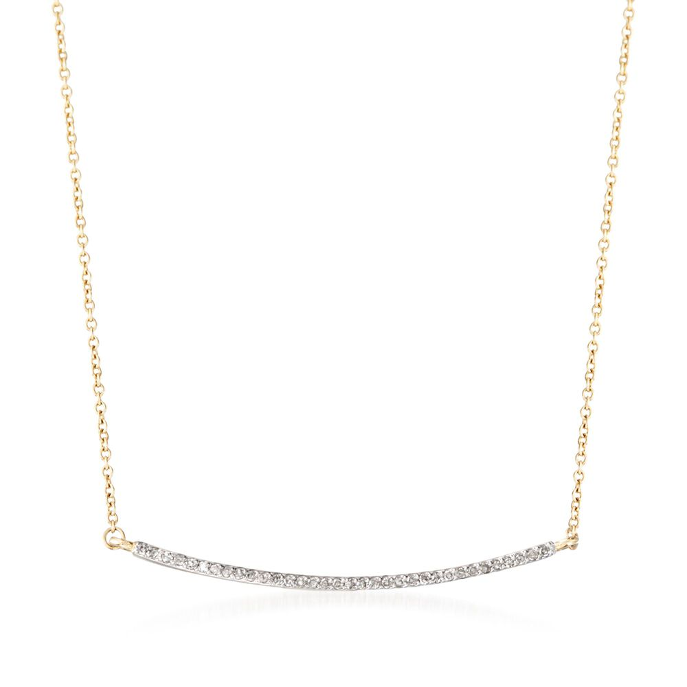 4cc091afade69 10 ct. t.w. Diamond Curved Bar Necklace in 14kt Yellow Gold