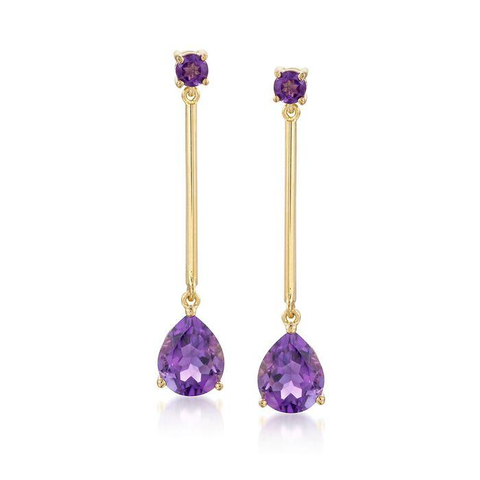4.80 ct. t.w. Amethyst Drop Earrings in 14kt Gold Over Sterling, , default