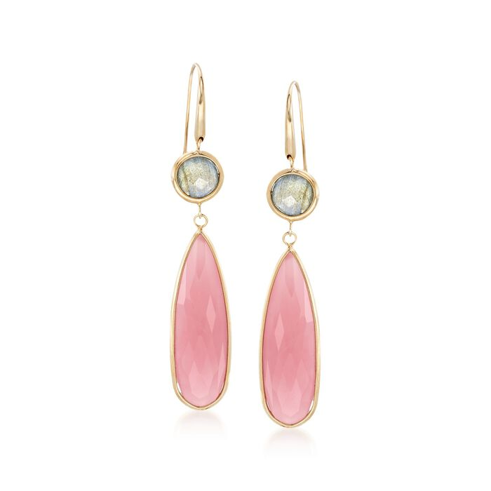 Italian Pink Chalcedony and Labradorite Drop Earrings in 18kt Yellow Gold