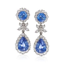 C. 2000 Vintage 5.60 ct. t.w. Sapphire and 1.40 ct. t.w. Diamond Drop Earrings in 18kt White Gold, , default