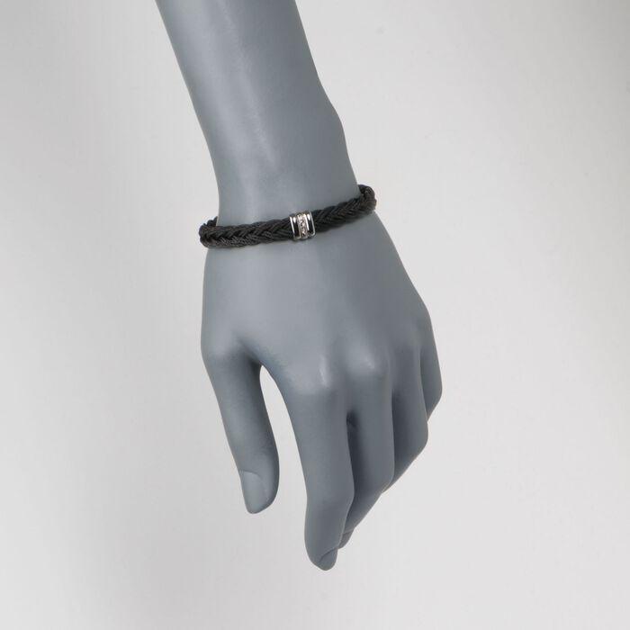 ALOR Men's Black Stainless Steel Braided Rope Bracelet