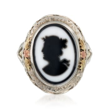 C. 1920 Vintage Agate Cameo Ring in 14kt Tri-Colored Gold. Size 4.5, , default