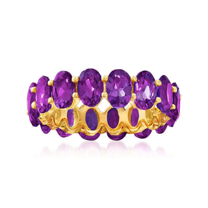 6.25 ct. t.w. Amethyst Eternity Band in 18kt Gold Over Sterling