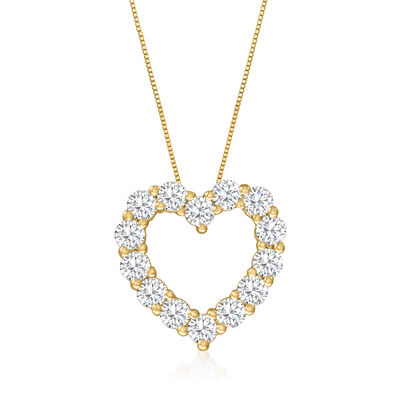 2.75 ct. t.w. Diamond Heart Pendant Necklace in 14kt Yellow Gold