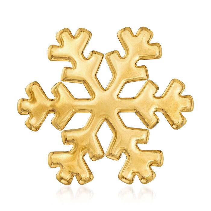 Italian Andiamo 14kt Yellow Gold Snowflake Pin, , default