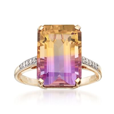 7.40 Carat Ametrine Ring with Diamond Accents in 14kt Yellow Gold