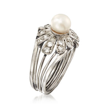 C. 1950 Vintage 6mm Cultured Pearl and .36 ct. t.w. Diamond Floral Ring in Platinum. Size 7