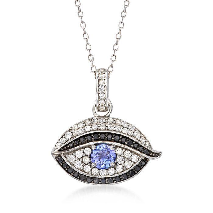.40 Carat Tanzanite and .40 ct. t.w. White Zircon Evil Eye Pendant Necklace with Black Spinels in Sterling Silver