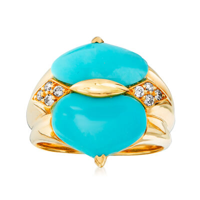 C. 1980 Vintage Turquoise and .12 ct. t.w. Diamond Ring in 18kt Yellow Gold, , default