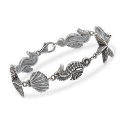 Italian Sterling Silver Sealife Link Bracelet, , default
