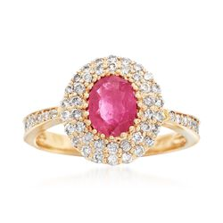 1.20 Carat Ruby and .73 ct. t.w. Diamond Ring in 14kt Yellow Gold, , default