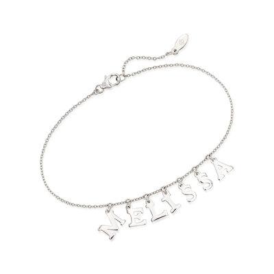Sterling Silver Letter-Charm Name Bracelet, , default