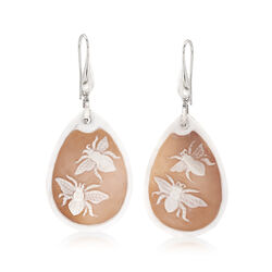 Italian Shell Insect Cameo Drop Earrings in Sterling Silver, , default
